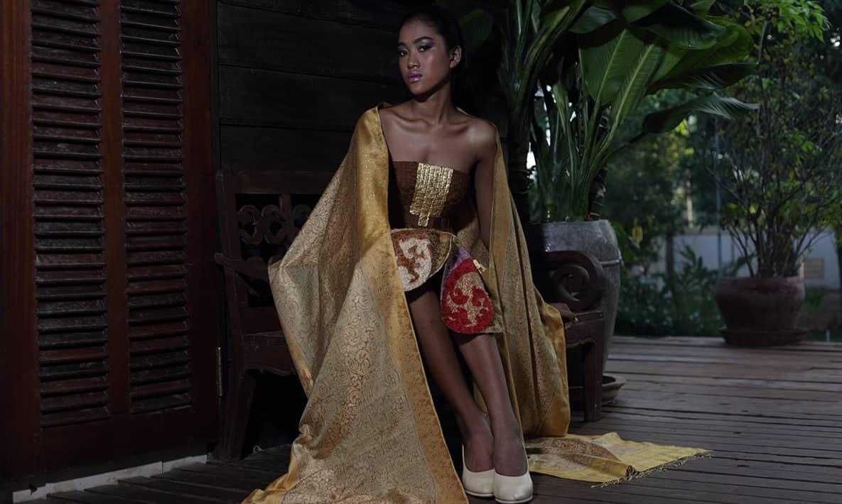 Angkor Golden Silk IKAT & Brocatel Dress