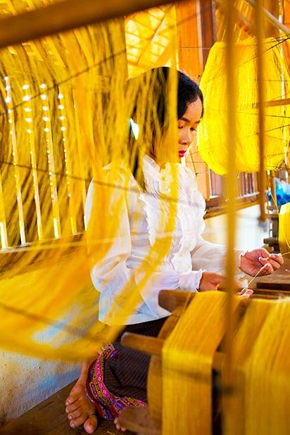 Golden Silk Hand-Spinning - Taken by Catherine Karnow