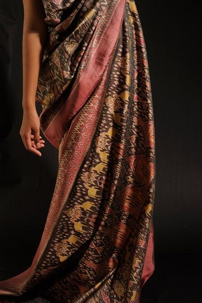 Golden Silk IKAT Dress