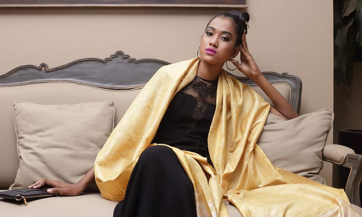 Golden Silk IKAT Khmer Stylish Scarf