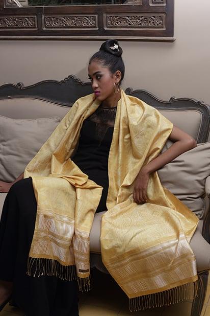 Golden Silk Ikat Long Scarf
