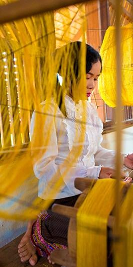 Golden Silk Spinning Process - Taken by Catherine Karnov
