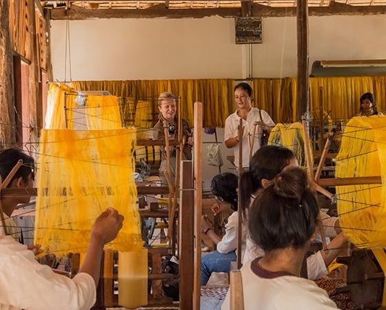 Golden Silk Weaving Process Siem Reap