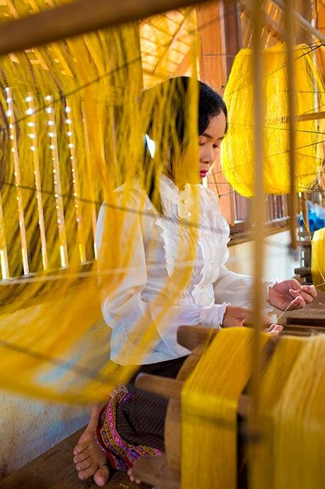 Golden Silk Weaving Process - Taken by Catherine Karnow