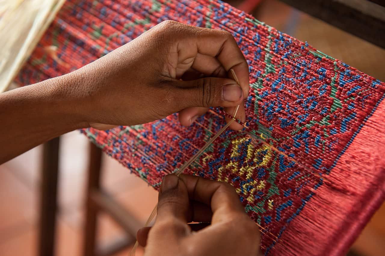 Weaving Silk Process in Cambodia
