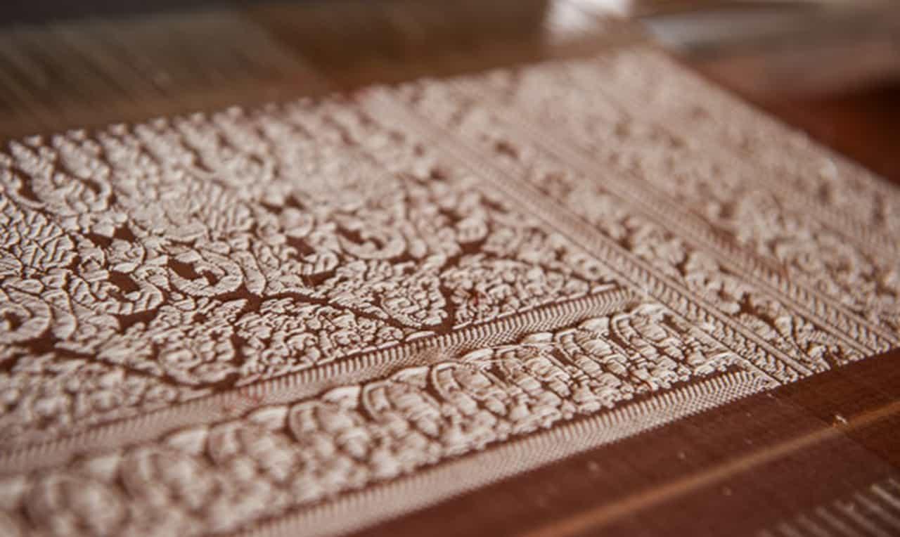 Golden Silk Brocatel Weaving Conor Wall - Taken by Conor Wall
